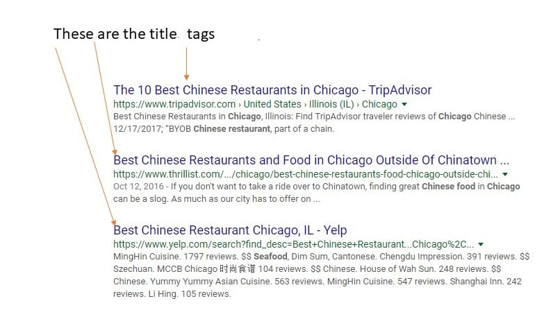 Examples of what title tags are