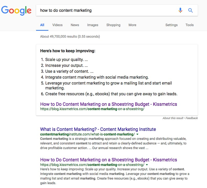 Get Featured in Google Snippet