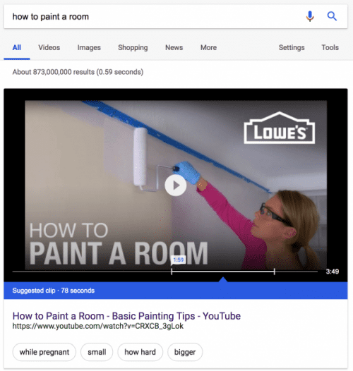 Video Featured in Google Snippets